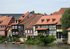 Klein Venedig (Little Venice) - with the half-timbered former fishermen's houses during the 19th century, with their balconies and tiny gardens, with mooring points for boats and barges along the Regnitz River - Bamberg