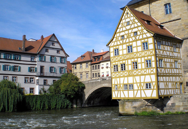 "Altes Rathaus (Old Town Hall) - the fachwerk (German for ""framework"", or half-timbering construction) jutting over the Regnitz River - Bamberg"