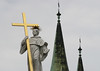 Oxidized copper spires of 2 of the 4 spires, of the Imperial Cathedral - Bamberg