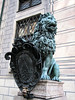 """Statue in front of the Münchner Residenz (Munich Residence) - the lion was the iconic symbol of the """"House of Wittelsbach"""", the ruling family of the Bavarian monarchy."""