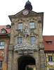 Rathausturm (Town Hall Tower) - the stone tower between the Rottmeister Haus (Corporal's House), and the baroque style paintings of the facade - Bamberg