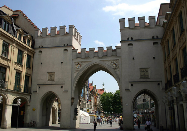 Karlstor (Karls Gate) - originally known as the Neuhauser Tor but was renamed in 1797 after Karl Theodor (the Elector who created a new square just outside the gate, known as Karlsplatz) - this gate is 1 of the 3 still standing gates that leads into Alstadt (old town) Munich, here leading down Neuhauser Strasse (street).