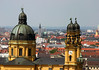 Theatinerkirche (St. Cajetan's Church) - with its towers rising to 230 ft. (70 m) and dome peaking at 233 ft. (71 m) - was completed in 1690, in the high-baroque style of Italian architecture, with the yellow hue expressing a Mediterranean feel - Munich