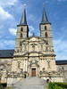Portal and twin towers and spires, of the Michaelskirche (Church of St. Michaels) - or Michaelsberg Abbey - Bamberg