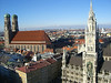 Frauenkirche (Church of Our Lady) - Neues Rathaus (New Town Hall) - northwest across München (Munich) to the distal Olympic Tower and BMW Tower.