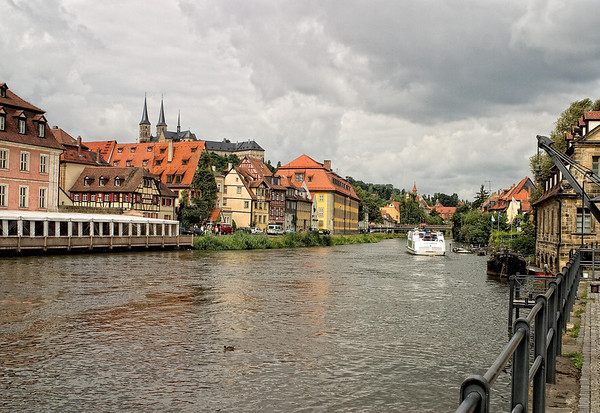 Down the Regnitz River - from the old fishing port crane and slaughter house - to the distal three steeples of the St. Michaels Church - Bamberg