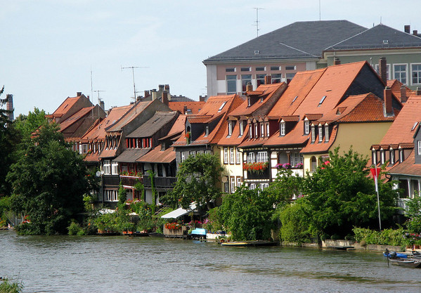 Klein Venedig (Little Venice) - with the half-timbered former fishermen's houses, with their balconies and tiny front gardens with mooring points for boats along the Regnitz River - Bamberg