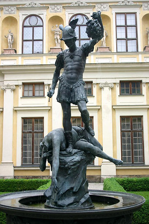 Perseus beheading Medusa (the gorgon, a dreadful and terrifying female in Greek mythology) - in the Grottenhof (Grotto Court) - at the Münchner Residenz (Munich Residence) - Munich