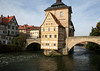 Rottmeister (Corporal's) House, its half-timbered construction was completed in 1688, attached to the Altes Rathus (Old Town Hall) - constructed on an artificial island in the Regnitz River - and connected by two bridges, the Obere Brückeb (Upper Bridge, seen here) - Bamberg