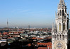 Neues Rathaus (New Town Hall) tower and lower spire - to the Olympic Tower and BMW Tower - Munich