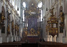Central nave of the Peterskirche (St. Peter's Church) - with statues and the pulpit upon the piers of the colonnade - and the high altar, with the windows of the apse beyond - Munich