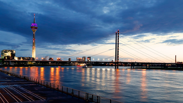 Dusseldorf Rhine River, Bridge & Tower