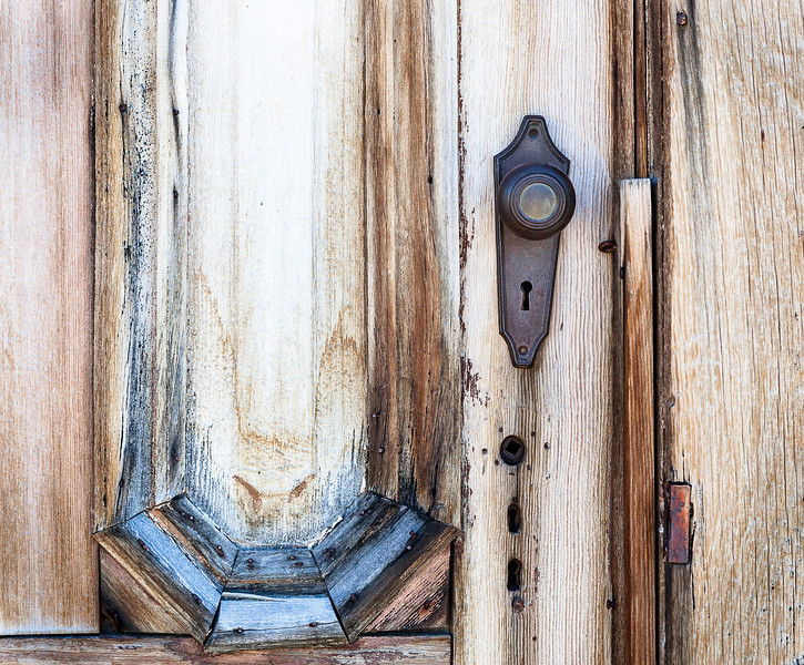 Wooden door with hardware, Bodie, Bodie California USA