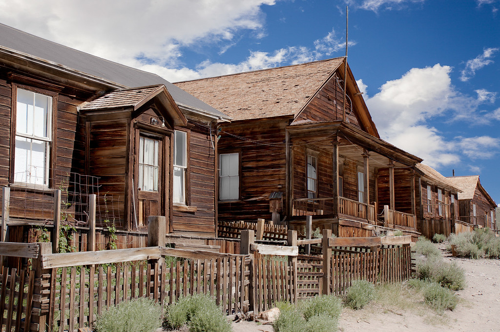 Donnelly, Seiler, Cameron, and Bell houses (L to R), Park Street, Bodie, California USA