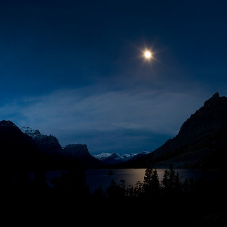 Moon over St. Mary Lake