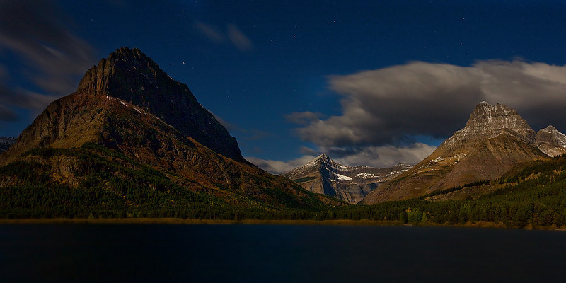 Night, Many Glacier Lake