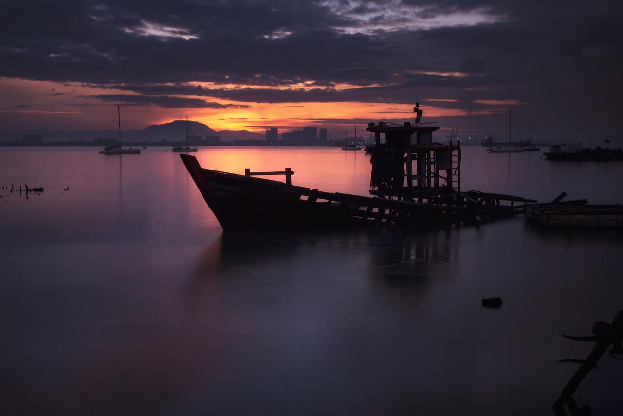 Sunken A sunken shipwreck off the Tan Jetty in Penang, Malaysia