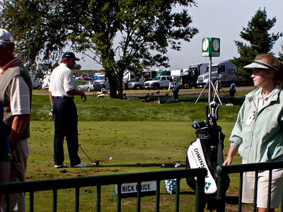 Nick Price at the driving range