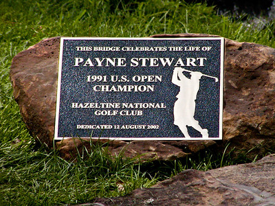 Payne Stewart bridge at hole 16 fairway