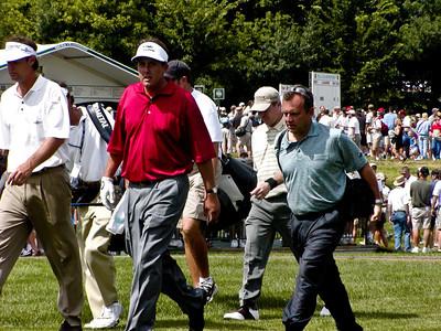 Paul Azinger, Phil Mickelson, and Scott Verplank on hole 11 fairway