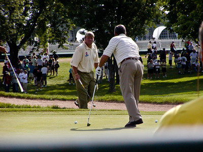 John Daly and Fuzzy Zoeller on hole 9 green