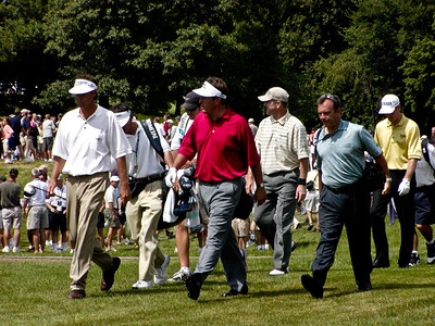 Paul Azinger, Phil Mickelson, Scott Verplank, and Jim Furyk on hole 11 fairway
