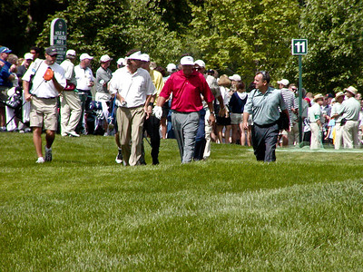 Paul Azinger, Phil Mickelson, and Jim Furyk on hole 11 fairway