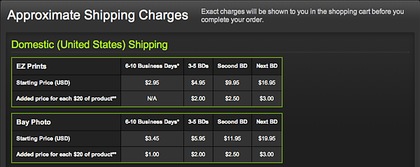 "SHIPPING CHARGES  <a href=""http://www.smugmug.com/prints/shipping.mg"">Click here to find out more about Smugmug's shipping charges</a>  All photos on this site are available for purchase and can be shipped anywhere in the world."