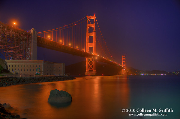 """The Golden Gate ©  2010 Colleen M. Griffith. All Rights Reserved.  This material may not be published, broadcast, modified, or redistributed in any way without written agreement with the creator.  This image is registered with the US Copyright Office. www.colleenmgriffith.com www.facebook.com/colleen.griffith  To see a version of this photo where I have removed the Green & White construction equipment (""""Cherry Pickers"""") parked next to the building, and lightened the overall photo  <a href=""""http://www.colleenmgriffith.com/Galleries/Service-Offering/Photo-Restoration/15146443_3B6a7#1155114278_bbNok""""> CLICK HERE</a>  You can see more of my San Francisco photos, by going to my San Francisco gallery: www.colleenmgriffith.com/Galleries/San-Francisco/San-Francisco"""