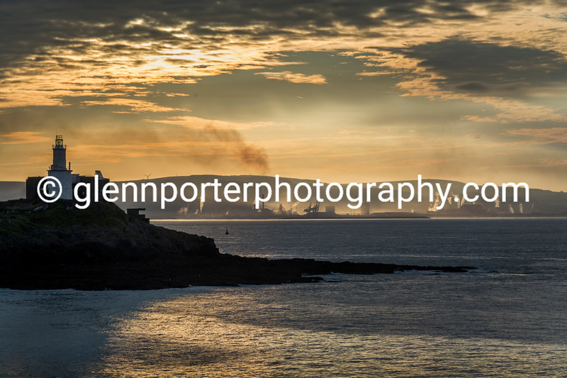 Early morning, at Bracelet Bay, Gower with Port Talbot in the background.