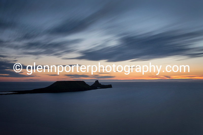 Sunset at Worms Head, Gower, Rhossili.