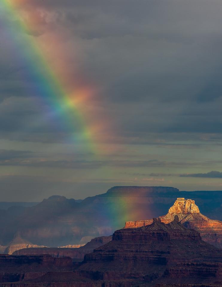 Rainbow illuminates Zoroaster Temple      from Lipan Point