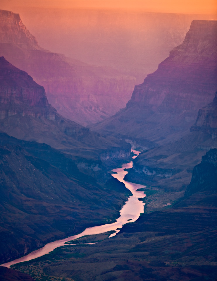 Colorado River in the glow of sunrise from Navajo Point
