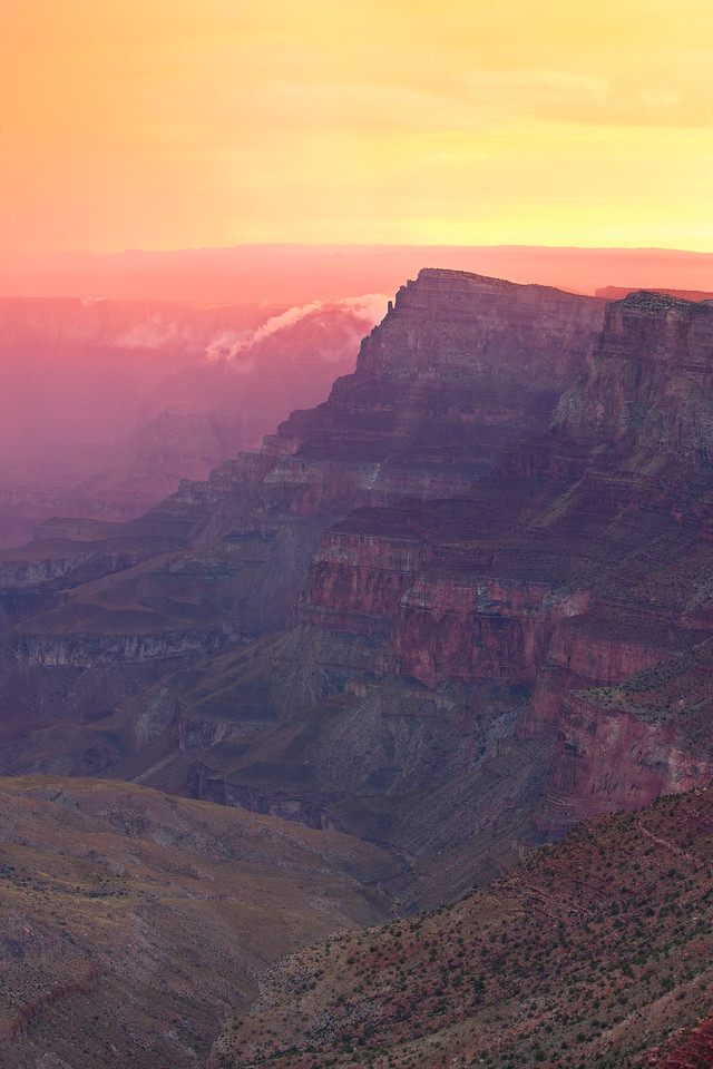 Sunrise at Navajo Point after pre dawn rain cast a glow of ice cream colors