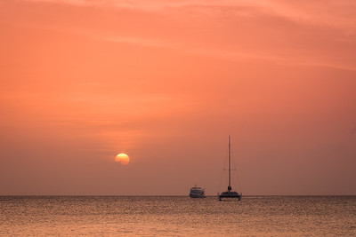Grand Cayman Sunset 2 with catamaran and fishing boat.