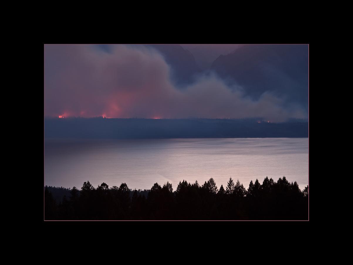 Wildfire near Jackson Lake, Grand Teton National Park