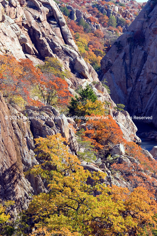 The Narrows of the Wichita Mountains with fall color.