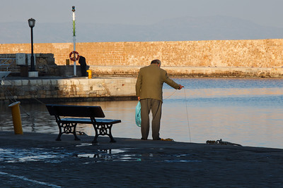 Early morning fishing, Hania, Crete, Greece
