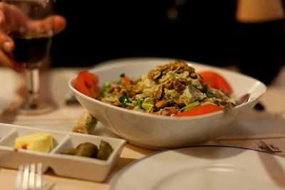 House salad at Tamam, a restaurant housed in an old Turkish bathhouse, Hania, Crete, Greece