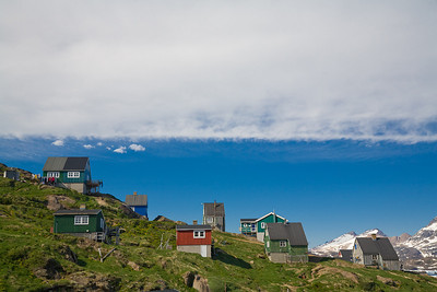 Greenlandic houses on the oputskirts of Tasiilaq.