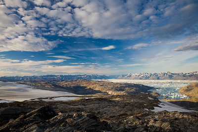 A view from the edge of the Ice Cap east across the Sermilik Fjord,