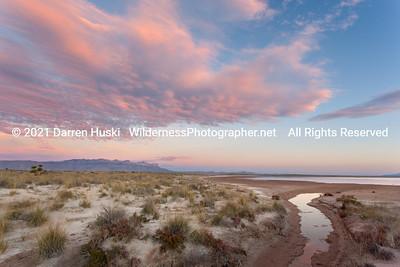 Edge of the desert lake.  Sunset over the northern edge of the desert lake.