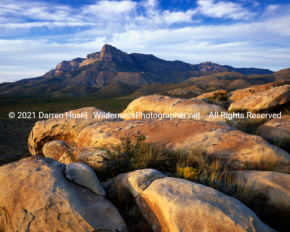 Boulders and the Guadalupes.  Guadalupe Mountians National Park, Texas.