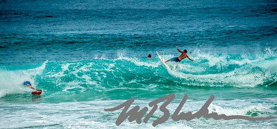 Surfers on North Shore Oahu