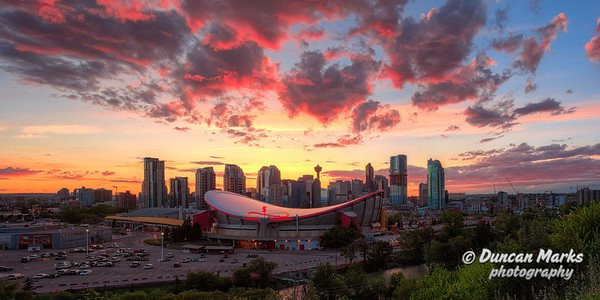 Calgary Skyline and Saddledome Panorama