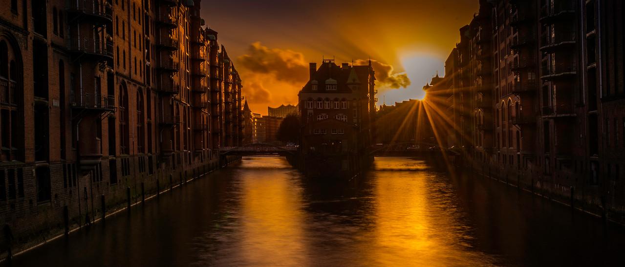 Hamburg Harbor City Sunset