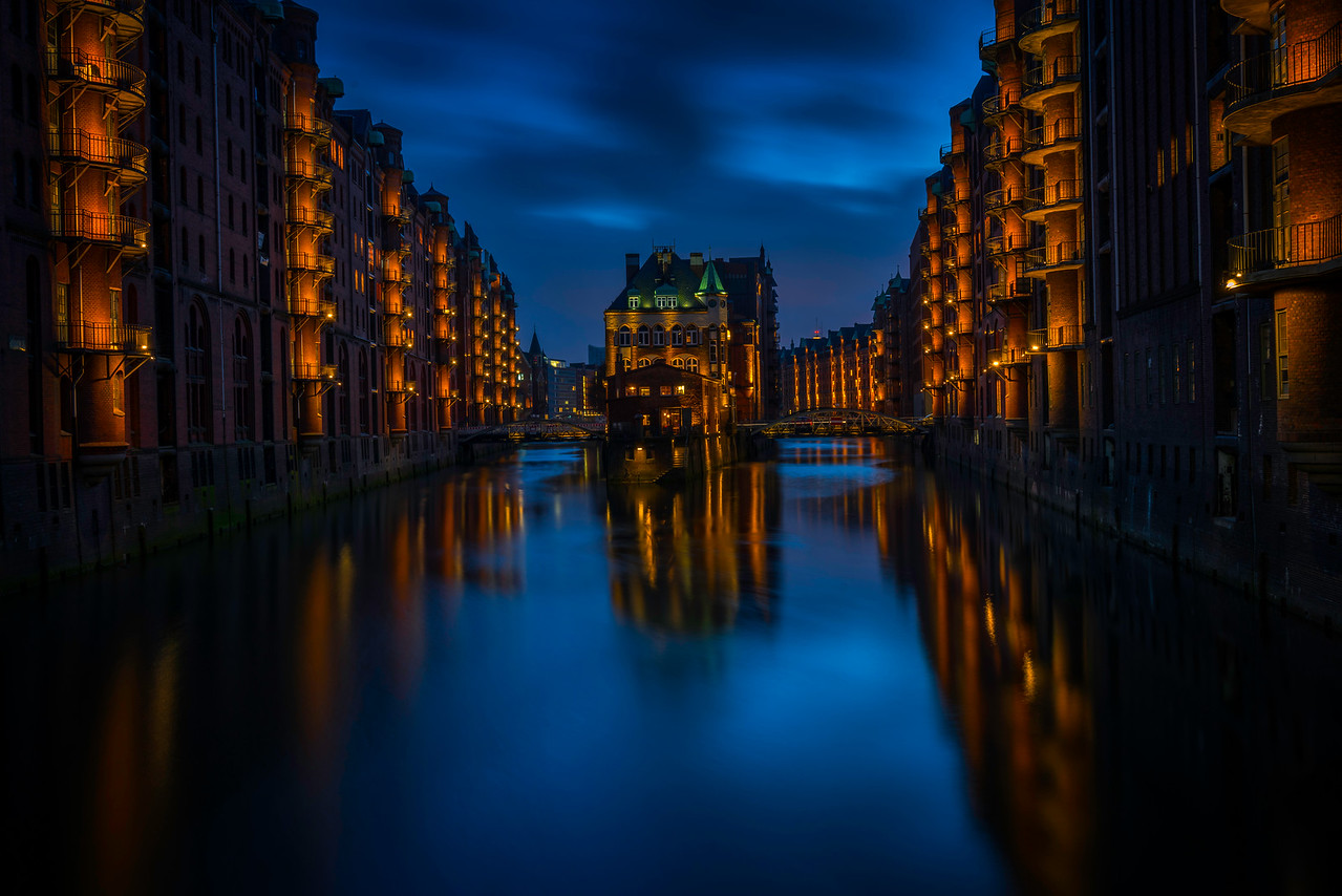 Hamburg Harbour City After Dark