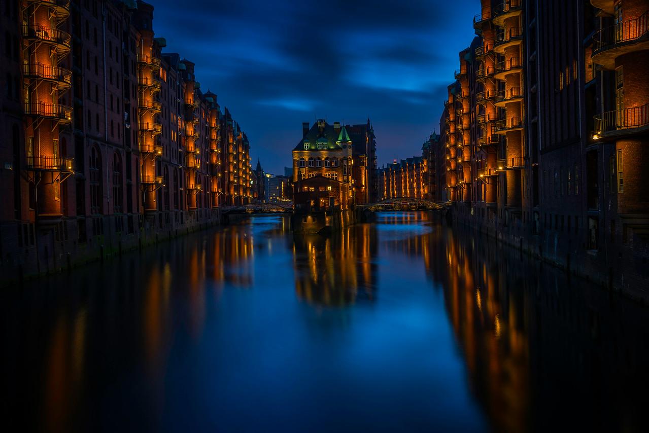 Hamburg Harbour City After Dark