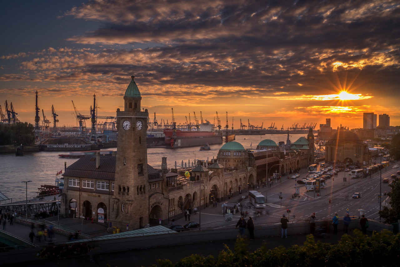 Hamburg Harbor Sunset