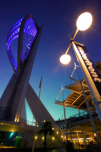 Portsmouth's Spinnaker Tower Illuminated at dusk